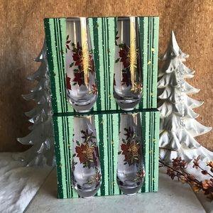 Poinsettia Stemless Champagne Flute Wine Glass Set